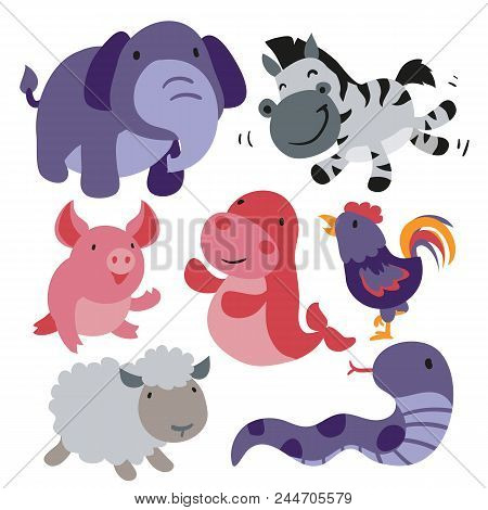 Animals Character Design, Cute Animals Collection, Face Animals Set