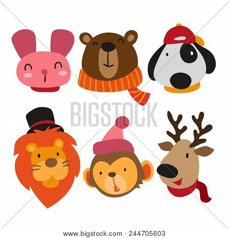 Cute Animals Collection, Face Animals Collection, Animals Set