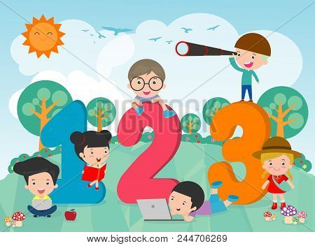 Cartoon Kids With 123 Numbers, Children With Numbers,vector Illustration