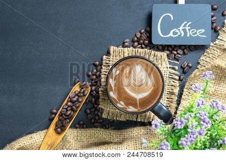 Cup Of Coffee On Black Table