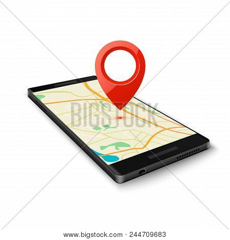 Black Smartphone With Map Gps Navigation Application With Pin Point To Current Location Isolated On