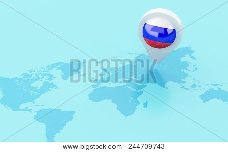 3D World Map With Russia Flag