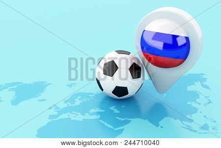 3D Soccer Ball And Russia Flag Map Pointer