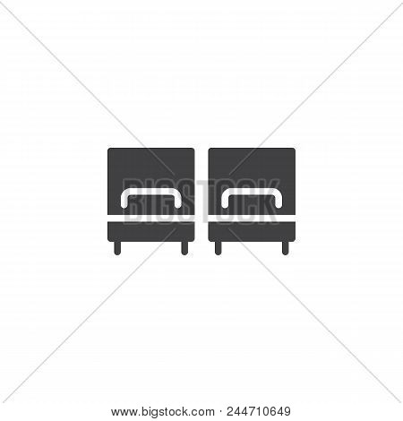 Hotel Twin Bed Room Vector Icon. Filled Flat Sign For Mobile Concept And Web Design. Two Single Beds