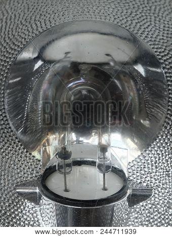 Close Up Of Halogen Lamp, Tungsten Halogen Or Quartz Iodine Lamp, Is An Incandescent Lamp.