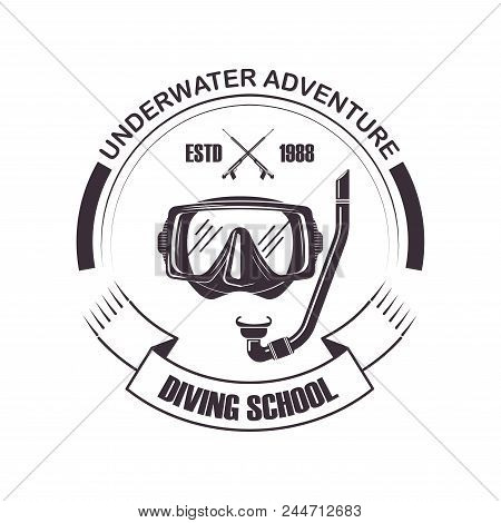 Diving School Or Scuba Diver Club Logo Template. Vector Icon Of Snorkeling Pipe And Ribbon For Under