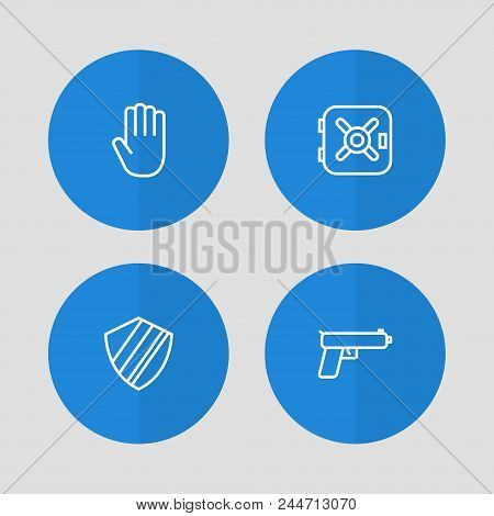 Set Of 4 Procuring Icons Line Style Set. Collection Of Gun, Vault, Palm And Other Elements.