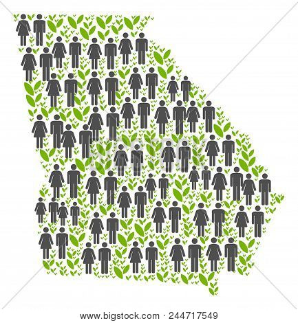 People Population And Eco American State Georgia Map. Vector Concept Of American State Georgia Map C