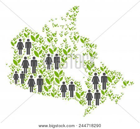 People Population And Flora Plants Canada Map. Vector Abstraction Of Canada Map Formed Of Scattered