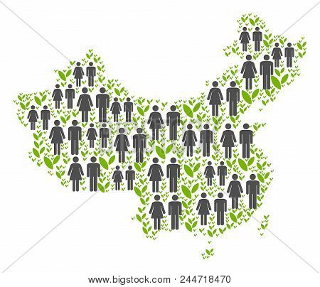People Population And Floral China Map. Vector Concept Of China Map Designed Of Random People And Ag