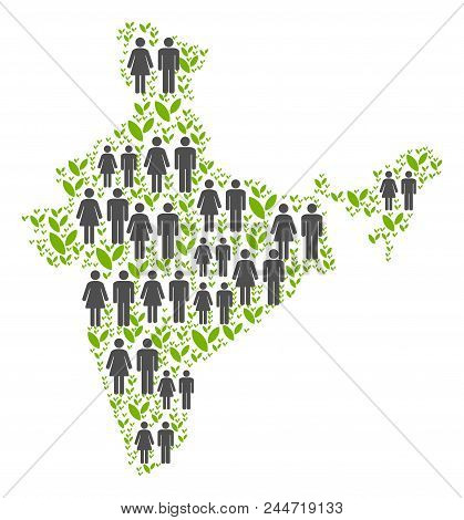 People Population And Environment India Map. Vector Mosaic Of India Map Combined Of Random Crowd And