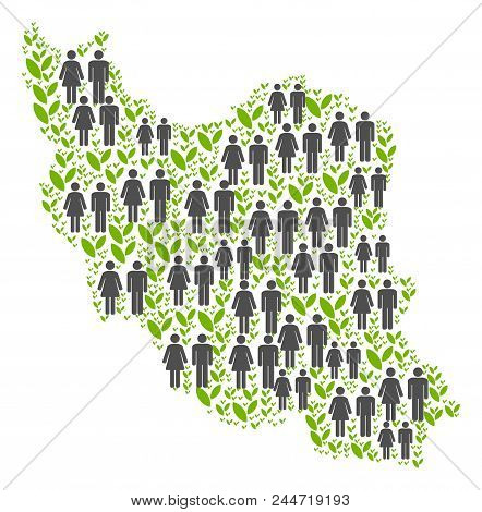 People Population And Flora Iran Map. Vector Concept Of Iran Map Constructed Of Scattered People Cou