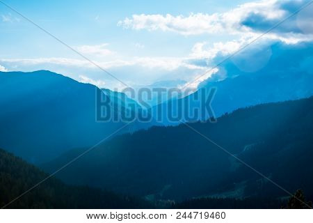 Sunrise Silhouettes Of Alps Mountain And Sunlight Dolomites Alps Italy