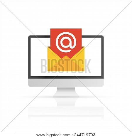 Computer With Envelope And Document On Screen. Email Marketing, E-mail, Internet Advertising Concept