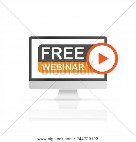 Free Webinar, Pc Icon. Flat Vector Stock Illustration On White Background