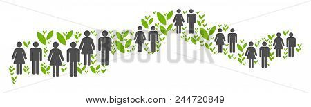 People Population And Flora Plants The Gambia Map. Vector Mosaic Of The Gambia Map Designed Of Rando