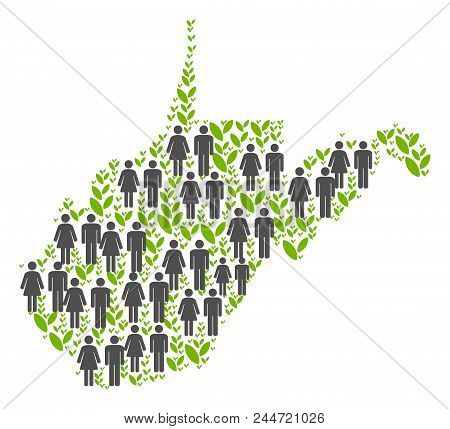 People Population And Flora West Virginia State Map. Vector Mosaic Of West Virginia State Map Constr