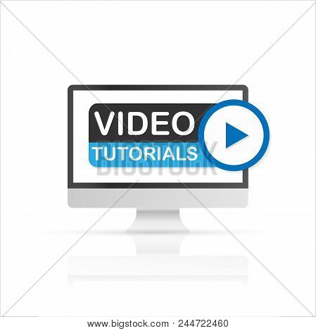 Screen Pc With Video Tutorials Icon. Vector Stock Illustration.