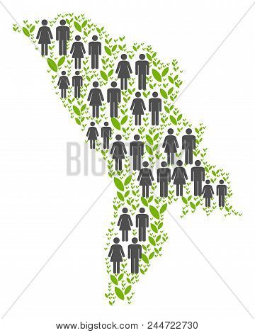 People Population And Green Plants Moldova Map. Vector Concept Of Moldova Map Done Of Random People