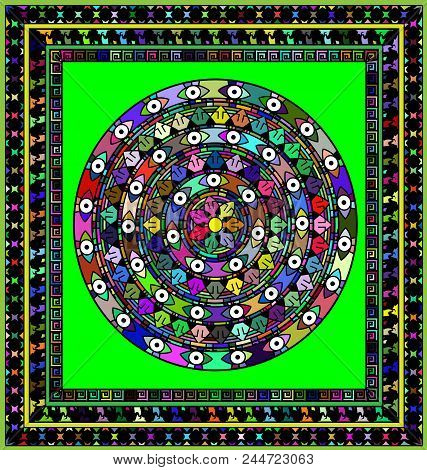 Abstract Colored Background Image Of Frame Consisting Of Lines And Figures With Mandala