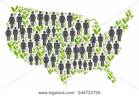 People Population And Grass Usa Map. Vector Collage Of Usa Map Composed Of Scattered People Couple A