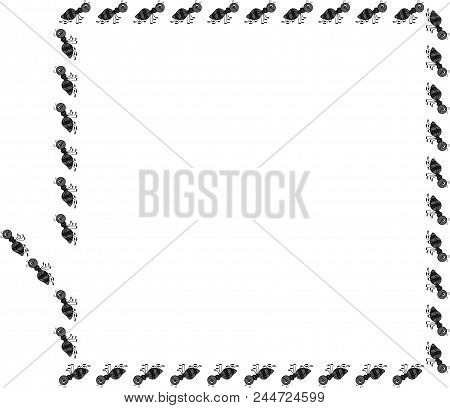 Scalable Vectorial Image Representing A Ant Border Rectangle Frame, Isolated On White.