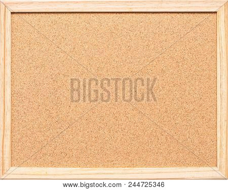 Blank Cork Board With Corkboard Texture Background With Wooden Frame Isolated For Wall Hanging For B