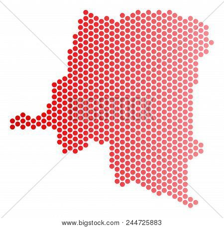 Red Round Spot Democratic Republic Of The Congo Map. Geographic Scheme In Red Color With Horizontal