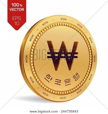 Won. South Korean Won Coin. Realistic 3d Isometric Physical Coin With Won Symbol And With The Text I
