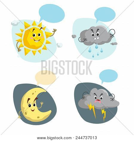 Cartoon Weather Characters Set. Friendly Sun, Rain Cloud With Raindrops, Crescent Moon And Thunderst