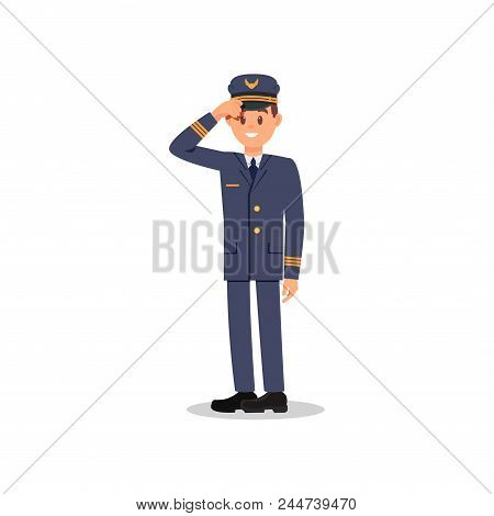 Full-length Portrait Of Smiling Pilot Holding His Hat By Hand. Cartoon Character Of Professional Avi