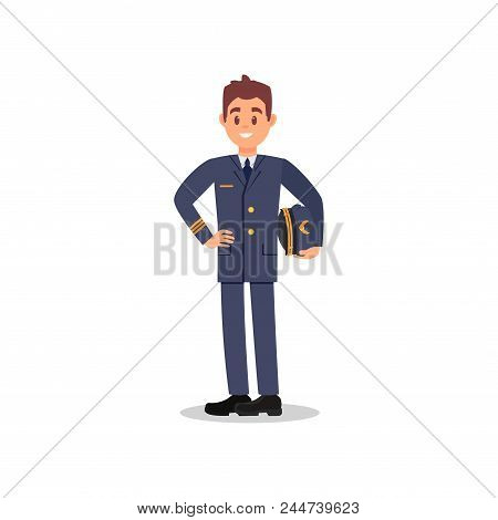Handsome Captain Of Airplane Holding Hat In Hand. Cartoon Character Of Young Pilot With Happy Face E