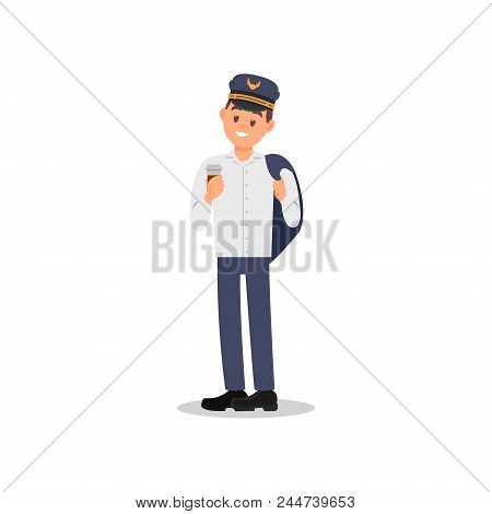 Young Pilot Holding Jacket Over His Shoulder And Cup Of Coffee In Hand. Captain Of Airplane. Cartoon