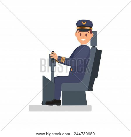 Smiling Man In Uniform Sitting On Captain S Chair. Professional Pilot Of Passenger Plane. Career Day
