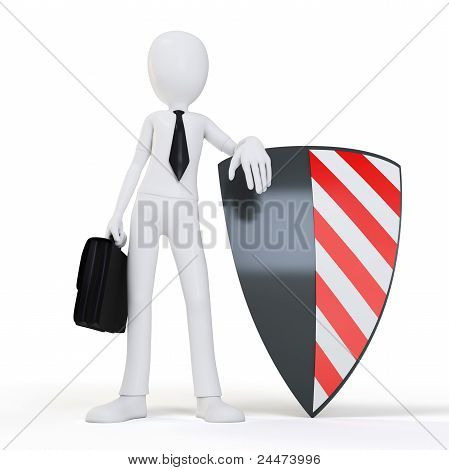 3D Man Businessman With Shield