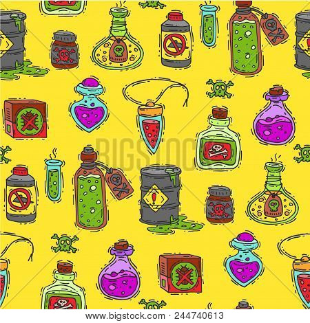 Bottle with potion game magic glass elixir poisoning toxic substance dangerous toxin drug container vector illustration. Pharmacy poisonous fluid chemistry medical liquid seamless pattern background. poster