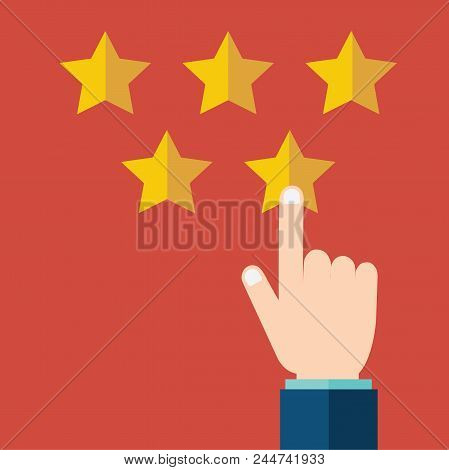 Customer Rating, Feedback, Star Rating, Quality Work. Businessman Pointing At A Gold Star, To Give F