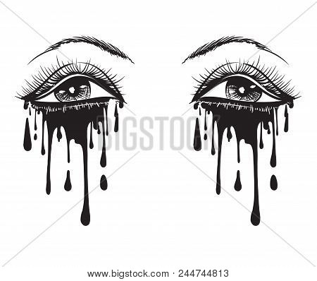 Vector beautiful illustration with crying eyes. Women's watery eyes. Eyes with flowing mascara on isolated background. poster