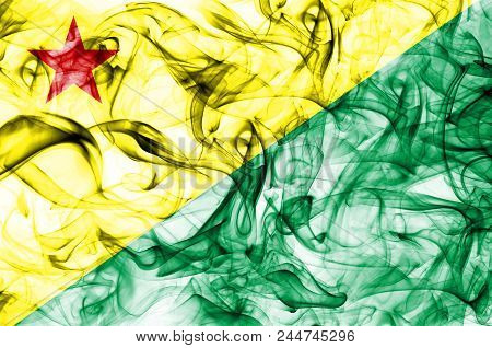 Acre Smoke Flag, State Of Brazil, On A White Background