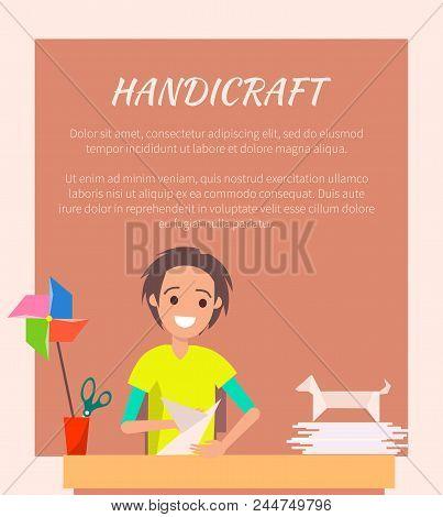 Handicraft Banner, Origami Art Vector Illustration, Cheerful Craftsman, Origami Works Samples, Dog A