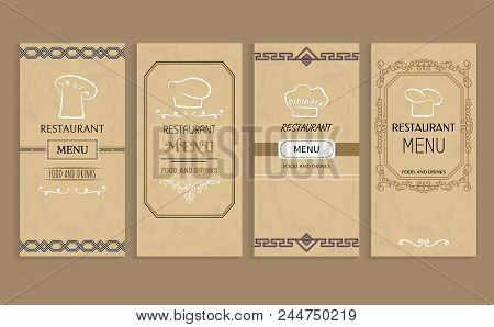 Restaurant Menu With Drinks And Food Templates. Menu Of Vintage Design With Chef Hat Logo. Prestigio