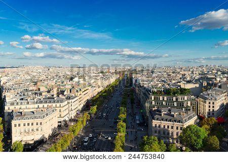 The Avenue Des Champs-elysees And Paris Skyline, France