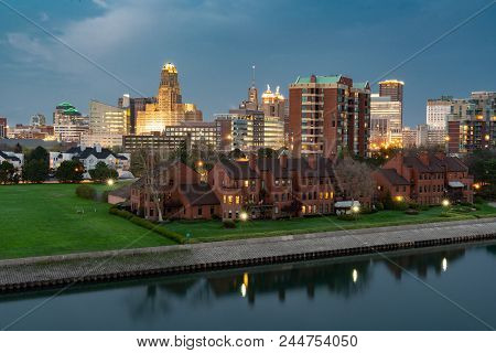 Night Aerial Skyline Of The City Of Buffalo New York