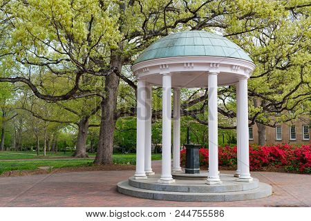 Flowers Bloom In Spring At The Old Well Rotunda At University Of North Carolina In Chapel Hill