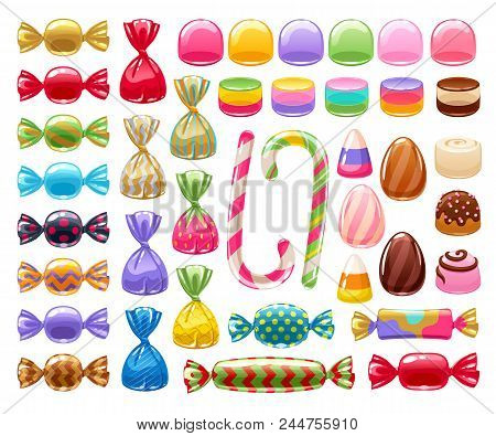 Colorful Sweets Set - Hard Candy, Chocolate Eggs, Candy Canes, Jellies. Vector Illustration. Assorte