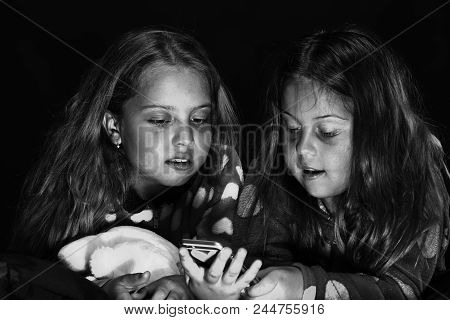Children's Friendship. Childhood And Happiness Concept. Children With Interested Faces