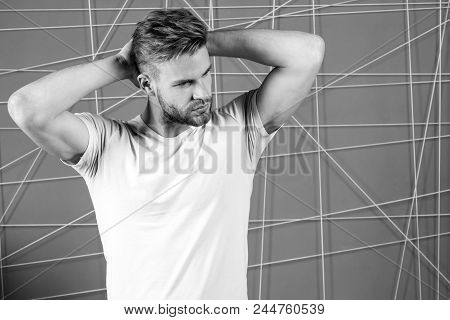 Man With Bristle Strict Face Enjoy Freshness Of Hair, Pink Background. Guy Bearded Attractive With H