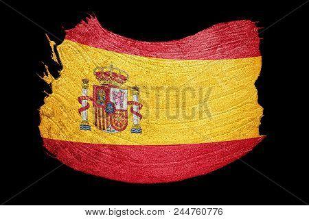 Grunge Spain Flag. Spain Flag With Grunge Texture. Brush Stroke.