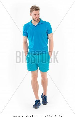 Confident Sportsman. Full Length Handsome Fit Man In Blue Sports Clothing And Sneakers Isolated Whit
