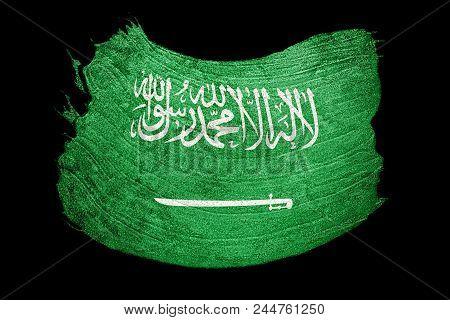 Grunge Saudi Arabia Flag. Saudi Arabia Flag With Grunge Texture. Brush Stroke.
